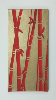 Bamboo original painting Asian decor original by ArtbyEvelynMarie, $89.00