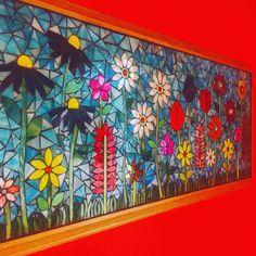 Panneau de mosaïque jardin fleuri