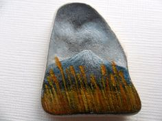 Reserved for Beverly - Miniature art on Scottish sea pottery - A storm gathers over Mount Fuji - original painting
