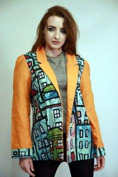 Urban Artwear Orange and Blue Original Custom Womens Jacket Featuring City Self Artwork by Irish Designer Emily Nayhree Dawson Streetwear Jackets, Streetwear Shop, Streetwear Fashion, Pink Faux Fur Coat, Faux Fur Jacket, Irish Fashion, Sleeveless Coat, Green Coat, Oversized Coat