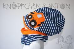 """Mützen - Set: Beanie """"Radlader, Bagger"""", orange & Loop - ein Designerstück von knoepfchenundanton bei DaWanda"""