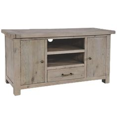 Saltash Reclaimed Wood TV Stand cabinet with drawers and two doors