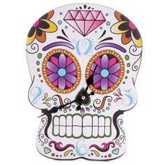 Wall Clock Fun Day of the Dead Skull Shaped by getgiftideas Crane, Hanging Clock, Sugar Skulls, Candy Skulls, Gothic Accessories, Picture Clock, Colorful Skulls, Floral Skull, Day Of The Dead Skull