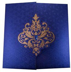 Elegant Wedding Invite in Royal Blue with Golden Patterns