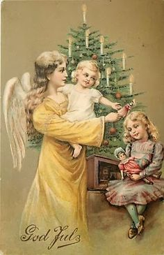 Victorian angel with girls Christmas postcard
