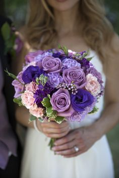 Purple wedding bouquet idea - roses, peonies + baby's breath {Wahlstrom…