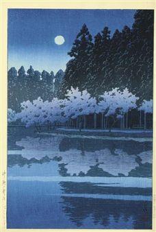Inogashira no haru no yoru (Spring night, Inogashira), from the series Shin Tokyo hyakkei (New hundred views of Tokyo) By Kawase Hasui