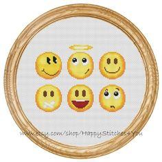 Cross Stitch Pattern PDF smileys emoji DD0169