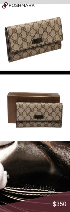 💯 Authentic Gucci Mongram Wallet Overall push button closure. Interior contains four side slip pockets, two bill slip pockets, and one zipper change pocket. Gucci Accessories