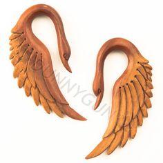2G Pair Red Saba Wood Swan Wing Earrings Organic Hand Carved