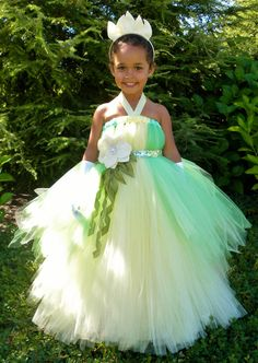Tutu Dress  Green & Yellow Princess Tiana  by Cutiepatootiedesignz, $135.00
