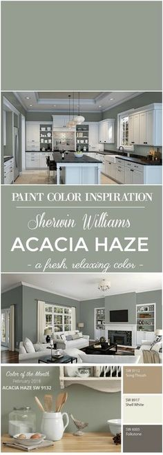 Williams Acacia Haze Paint Color Paint Color Inspiration: Sherwin Williams Acacia Green for walls.Paint Color Inspiration: Sherwin Williams Acacia Green for walls. Green Paint Colors, Kitchen Paint Colors, Exterior Paint Colors, Paint Colors For Home, House Colors, Siding Colors, Neutral Kitchen Colors, Paint For Kitchen Walls, Neutral Colors