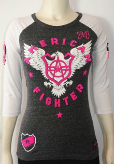 NEW-AMERICAN-FIGHTER-BY-AFFLICTION-ATHENS-3-4-SLEEVE-RAGLAN-TEE-SIZES-M-L-XL