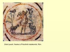 Dobri pastir, freska iz Priscilinih katakombi, Rim