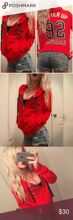 """⚾️ VS PINK Cardinals MLB Baseball hoodie ⚾️ VS PINK Cardinals MLB Baseball hoodie. Victoria's Secret pink full zip up hoodie. Size medium. Front hand pockets. Cotton material. Solid red with white and black graphics. NWOT  perfect new condition. No rips, stains or tares. """"Batter up!"""" """"Cardinals"""" On the back and front! PINK Victoria's Secret Tops Sweatshirts & Hoodies"""
