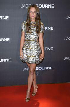 Alicia Vikander in Louis Vuitton at the Jason Bourne Paris Premiere