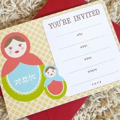 Fill-in Matryoshka doll invitation, Russian nesting doll party invitation, Baby shower invitation - set of 10. $12.00, via Etsy.