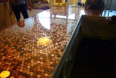 penny countertop-or as a table top to add some sparkle to the kitchen Penny Countertop, Tile Countertops, Penny Boden, Copper Penny, Aged Copper, Penny Tile, Ikea, Kitchen Flooring, Kitchen Backsplash