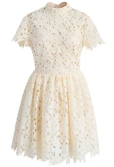 Floral Joy Crochet Dress in Beige - New Arrivals - Retro, Indie and Unique Fashion