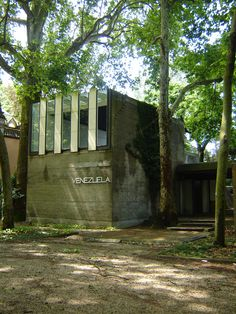 The Venezuela Pavilion in the Biennale Gardens in Venice, Italy, designed by Carlo Scarpa (noted for designing Brion Cemetery). It is not abandoned, but since the gardens are only used every other year, 18 months every two years it falls into neglect, as do the rest of the gardens.