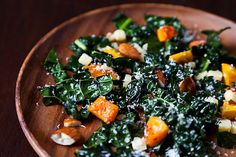 Kale Salad with roasted squash & almonds