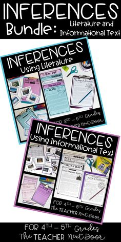 This Inferences Bundle Using Literature and Informational Text for 4th and 5th graders is a 143 page set filled with worksheets, 4 sets of task cards, posters, games, and activities to help your students practice the very important reading strategy of making inferences.
