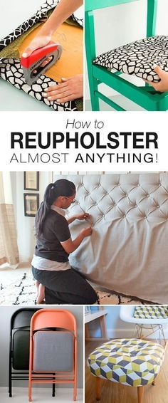 How to Reupholster Almost Anything Great ideas projects and tutorials on reupholstering chairs stools headboards and more! How to Reupholster Almost Anything Great ideas projects and tutorials on reupholstering chairs stools headboards and more! Furniture Projects, Furniture Makeover, Furniture Design, Furniture Plans, Wood Projects, Bedroom Furniture, Diy Bedroom, Craft Projects, Furniture Repair