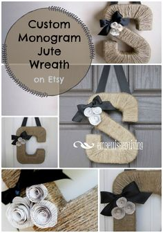 Personalized monogram letter wreath for hanging on front door. Would make a great first Christmas together gift! #etsy #wreath #frontdoor #customized #monogram #gift #affiliate