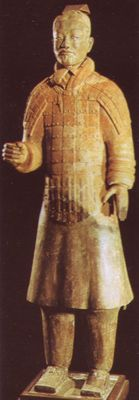 Terracotta soldier in armour.  220-210BC.  Museum of Chinese History, Peking