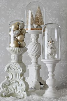Inexpensive Thrift Store Candle Holders Painted White and used as Pedestals. by Curious Details Decor, Candle Holders, Candle Store, Holiday Ornaments, Christmas Decorations, Ornament Display, Candles, Thrift Store Crafts, Cloche Decor