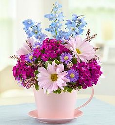 Celebrate Mother's Day 2020 by ordering Mother's Day flowers! Whether mom is near or far, send a Mother's Day flower delivery such as roses, tulips & more. Teacup Flowers, Tall Flowers, Beautiful Flowers, Creative Flower Arrangements, Floral Arrangements, Mothers Day Flowers, Flower Boxes, Flower Delivery, Mother Gifts