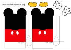 Eu Amo Artesanato: Moldes de caixinhas, lembrancinhas para festas Mickey E Minnie Mouse, Fiesta Mickey Mouse, Theme Mickey, Mickey Party, Mickey Mouse Clubhouse, Mickey Mouse Birthday, Miki Mouse, Disney Images, Diy Gift Box
