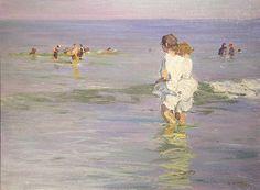 """Chums,"" Edward Potthast, oil on canvasboard, 12 x 16"", Keny Galleries."