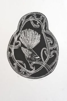 Charlotte Graham Woodcut - Fantail