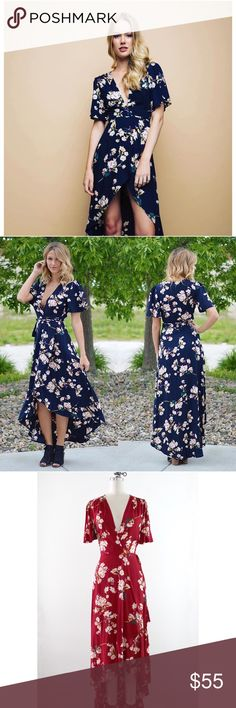 """Navy Floral Wrap High Low Dress The Floral Maxi Dress is a beautiful wrap maxi dress with a plunging neckline, fluttering sleeves, and a high low hemline. Color is NAVY.   Detail: Self: 100% Rayon. Hand wash cold. Imported.  Mannequin is wearing a size small.  Measurement of size small: Length: 44"""" 