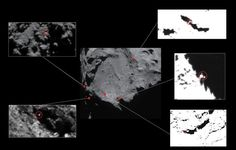 Lander candidates. (Released 2015-06-11) (Credit: ESA)  In the search for Philae, here are five images taken in December with Philae-sized features circled in each. All but one of them (top left) have since been ruled out due to various constraints.
