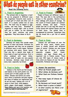 What Do People Eat In Other Countries worksheet - Free ESL printable worksheets made by teachers English Writing Skills, English Reading, English Lessons, Learn English, French Lessons, Spanish Lessons, Learn French, English Grammar Worksheets, Grammar Lessons