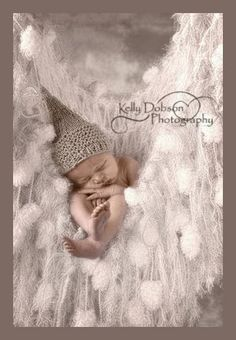 Winter is OVER! :) A baby 'Snow Gnome' nestles into his 'Frost Pod' and prepares to hibernate until next snowfall, hee hee! (White Fringe Hammock / Baby Blanket Photo Prop by BabyBirdz) $95.00