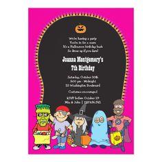 Girl's Halloween Birthday Costume Party Invitation