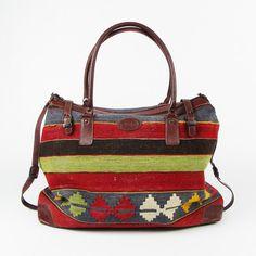 vtg leather ETHNIC NATIVE SOUTHWESTERN KILIM woven LARGE OVERNIGHT WEEKENDER bag $198.00