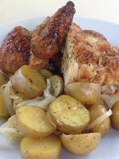 POLLO ROSTIZADO AL OREGANO Y LIMÓN CON PAPITAS  #chicken #roastedchicken #potatoes