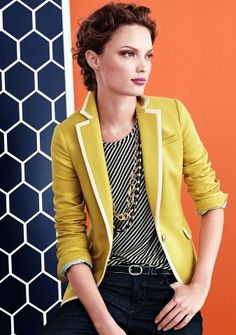 yellow blazer - this blazer is tipped with white like mine - love the combo with the graphic black top, chunky necklace and black trousers