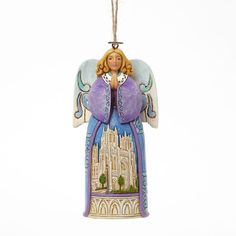 Angels Gather Here Angel With Cathedral Church Scene Hanging Ornament