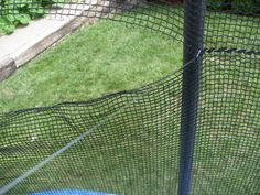 Testosterone Overload...with a touch of PINK!: Trampoline Netting Repair (aka I may have been a fisherman)