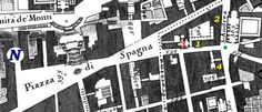 1748 map showing the proximity of Joseph's seminary, the Palazzo di Propaganda Fide (1, 2, and 3) to the Piazza di Spagna and Spanish Steps