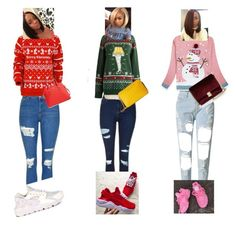 """""""Christmas"""" by aniyaowens ❤ liked on Polyvore featuring Topshop, Disney, NIKE, WithChic, Kate Spade, KC Jagger, Christmas and uglysweaters"""
