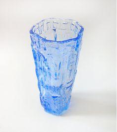 Vintage Blue Glass Bark Textured Vase Ravenhead  Whitefriars Style