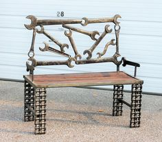 Scrap Metal Boom Days Oil Field Wrench Garden Bench - Repurposed Recycled Scrap Metal Found Object Art Wrench Bench with Reclaimed Wood