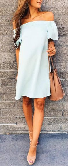 #summer #outfits / off the shoulder puff sleeve dress