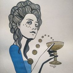 Ravishing Rococo part III is finished. Long may my Rococo addiction live! #art #artwork #instaart #illustration #doodle #sketch #drawing #painting #ink #blue #grey #rococo #rococco #marieantoinette #coiffurealenfant #coupeglass #champagne #bubbles #raiseaglass #curls #bighair #bighairdontcare